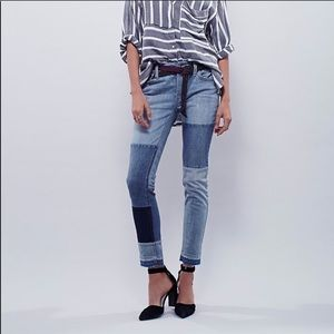 Free People Patched & Relaxed Camp Jeans Size 24
